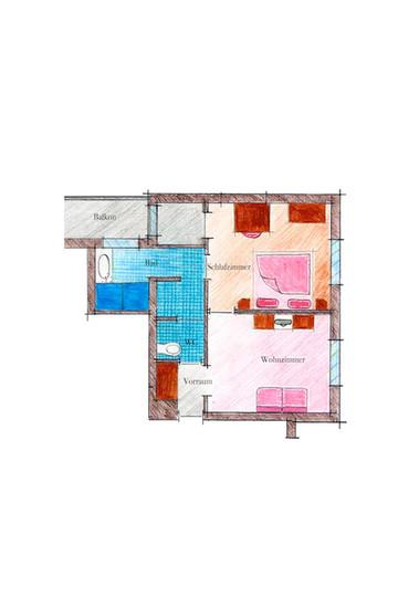 Skizze Zimmertyp Schlossblick im Landhaus