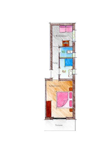 Skizze Zimmertyp Wiese im Landhaus