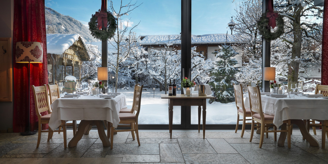Restaurant mit Winterpanorama