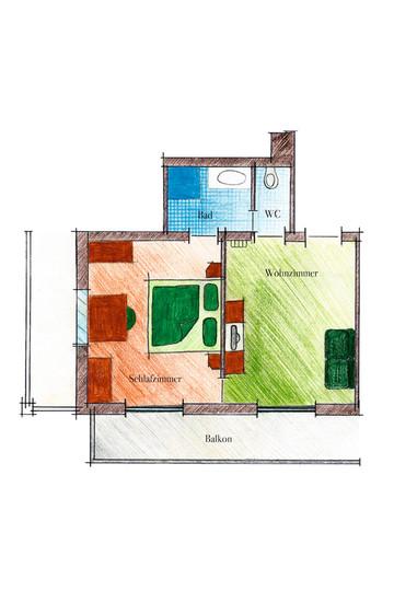 Skizze Zimmertyp Hortensie im Landhaus